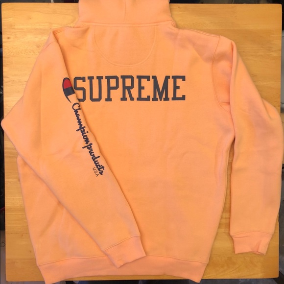 top quality fashionable patterns top-rated cheap Champion x Supreme Peach Orange Hoodie